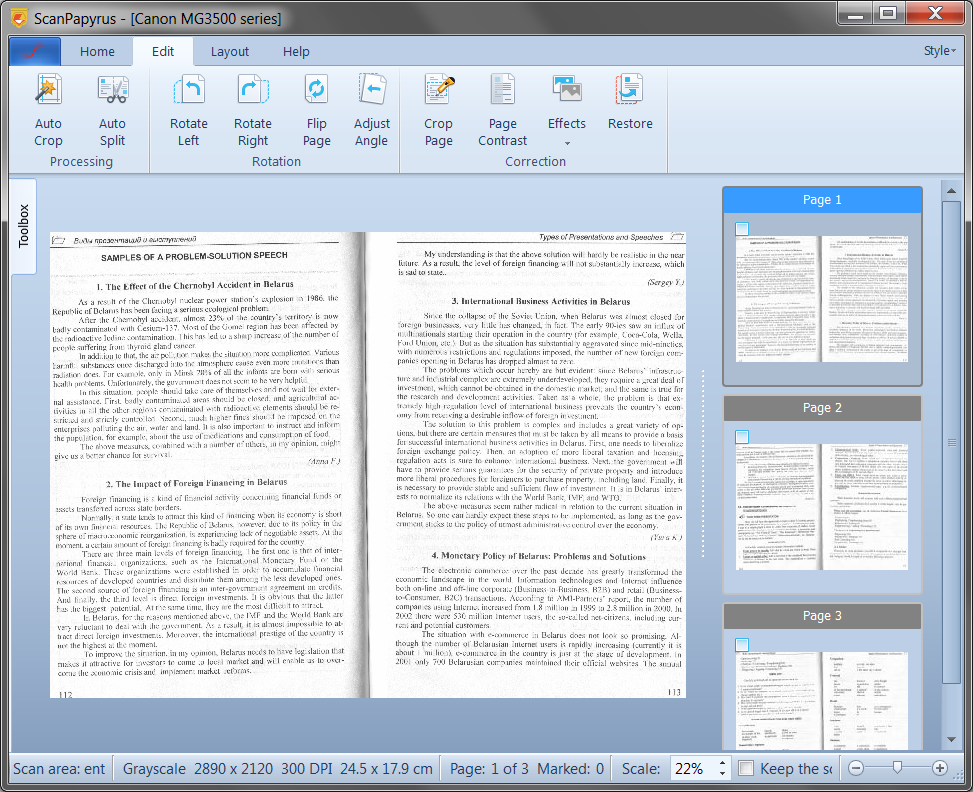 ScanPapyrus: Scanning documents, books to PDF, DjVu, and